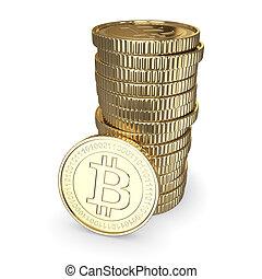doré, coupure, cryptography, pièces, -, bitcoin, isolé, monnaie, numérique, sentier