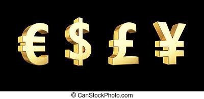 doré, coupure, isolé, symboles, monnaie, sentier, blanc