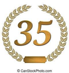 doré, couronne, 35, laurier