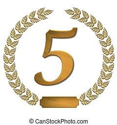 doré, couronne, 5, laurier