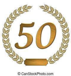 doré, couronne, 50, laurier
