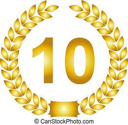 doré, couronne, laurier, 10, années