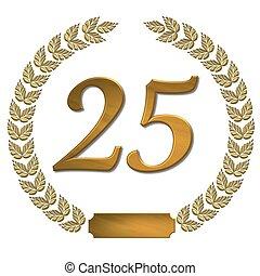 doré, couronne, laurier, 25