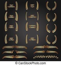 doré, couronnes, award., vecteur, pellicule, laurier, mieux