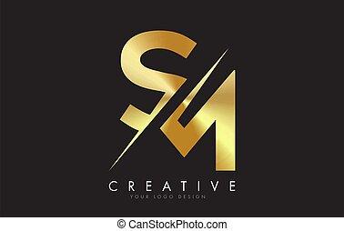 doré, créatif, logo, conception, m, cut., s, lettre, sm