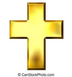 doré, croix, 3d