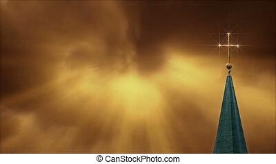doré, croix, nuages, luisant