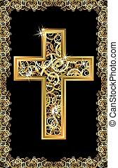 doré, croix, vecteur, paques, heureux