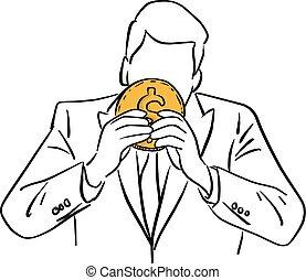 doré, croquis, homme affaires, tenue, grand, lignes, isolé, illustration, main, vecteur, arrière-plan noir, griffonnage, dessiné, blanc, monnaie