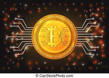 doré, currency., bitcoin, illustration, vecteur, numérique