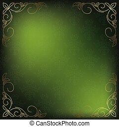 doré, décor, coins, vecteur, vert, carte
