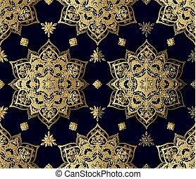 doré, décoratif, modèle, seamless, oriental, style.