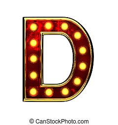doré, d, isolé, illustration, lumières, white., lettre, 3d