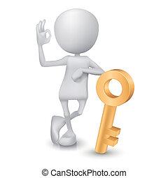 doré, d'accord, projection, signe, clã©, homme, main, 3d