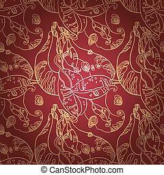 doré, dentelle, modèle, ornement, seamless, profond, arrière-plan., rouges