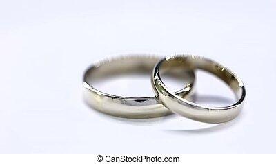 doré, diamant, anneaux, fond, mariage, blanc, rotation, boucle