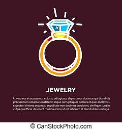 doré, diamant, bijouterie, affiche, vecteur, alliance
