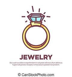 doré, diamant, bijouterie, plat, vecteur, conception, alliance, icône