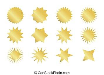 doré, différent, autocollant, starburst, styles., sunburst, set., insignes