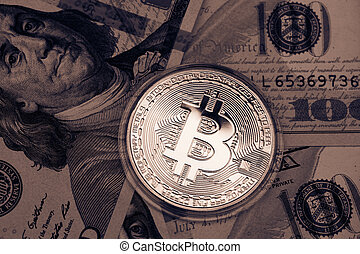 doré, dollars., currency., bitcoin, nous, numérique