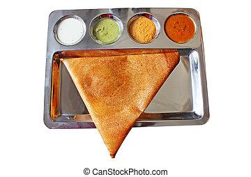doré, dosa, traingular, indien, délicieux, appétissant, masala