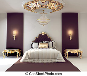 doré, double, royal, luxe, chambre à coucher, intérieur, ...