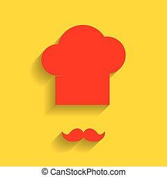 doré, doux, signe., chef cuistot, arrière-plan., vector., moustache, ombre, chapeau, rouges, icône