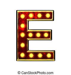 doré, e, isolé, illustration, lumières, white., lettre, 3d