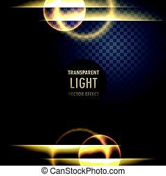doré, effet lumière, lentille, fond, transparent