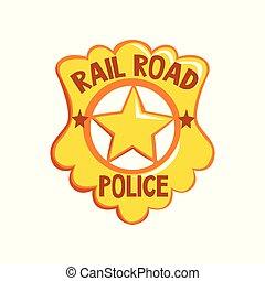 doré, emblème, insigne shérif, justice, illustration, américain, vecteur, fond, blanc
