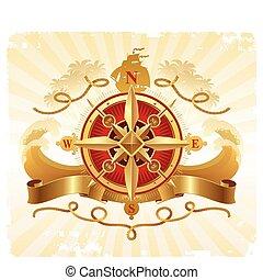 doré, emblème, vendange, voyage, compas, aventures, vecteur, rose
