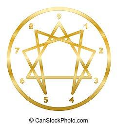 doré, enneagram, symbole, nombres, cercle, anneau, personnalité