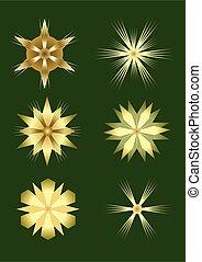 doré, ensemble, éléments, or, gradient., isolé, noël, sombre, arrière-plan., conception, étoiles, vert, gentil, starshapes, illusion, 3d