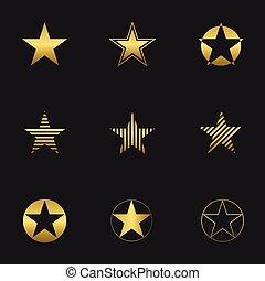 doré, ensemble, étoile
