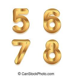 doré, ensemble, alphabet., métallique, numbers., 3d