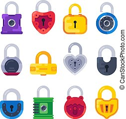 doré, ensemble, cadenas, plat, sûr, lock., isolé, serrures, vecteur, sécurité, clã©, mécanique, cadenas, laiton