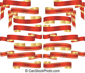 doré, ensemble, défilements, accents, bannière, rouges