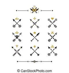 doré, ensemble, icônes, tribal, moderne, flèches, main, traversé, retro, fond, dessiné, noir, blanc