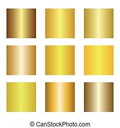 doré, ensemble, illustration., or, vecteur, backgrounds., gradients.