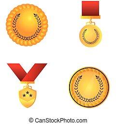 doré, ensemble, médailles
