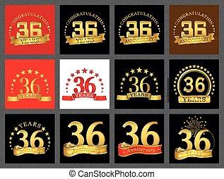 doré, ensemble, party.., thirty-six, nombre, years), anniversaire, anniversaire, (36, gabarit, célébration, ton, éléments, design.