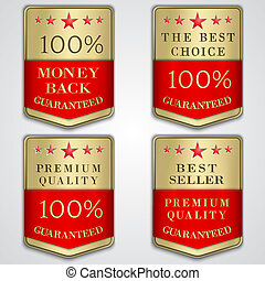 doré, ensemble, prime, qualité, étiquette, vecteur, texte, vendeur, écusson, mieux