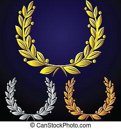 doré, ensemble, vecteur, couronnes, laurier, argent, bronze