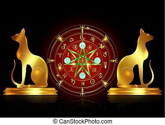 doré, ensemble, vieux, mystique, année, la terre, mandala, signes, divination., symboles, ancien, runes, isolé, astrologique, roue, wicca, symbole, chats, occulte, wiccan, protection., vecteur, sorcières, zodiaque