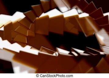 doré, escalier, brun
