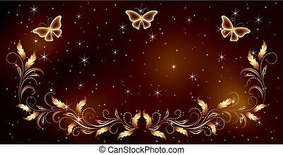 doré, espace, ornement, magique, stellaire, papillons, fond