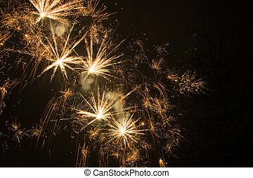 doré, exploser, étoiles