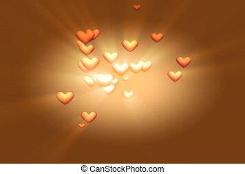 doré, exploser, cœurs