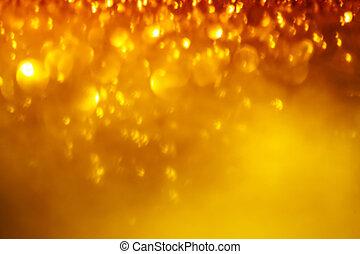 doré, fête, twinkled, résumé, lights., lumières ville, bokeh, arrière-plan., fond, barbouillage, boke, noël, flou, defocused
