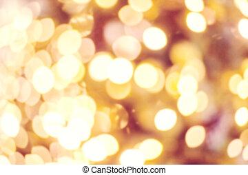 doré, fête, twinkled, résumé, -, lumières, bokeh, arrière-plan., fond, barbouillage, boke, defocused